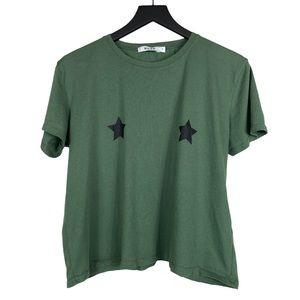 NA-KD Crop Top T-Shirt Star Graphic Tee Green